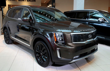 """The Kia Motors 2020 Telluride vehicle is displayed during the award ceremony winning the """"North American Utility Vehicle of the Year"""" in Detroit"""