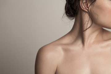 close up of woman neck face and shoulder natural beauty skin concept