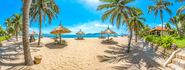 Spoed Fotobehang Beige Beautiful Scenery of Nha Trang, a Tropical Coastal Vacation Paradise in Vietnam, Southeast Asia.