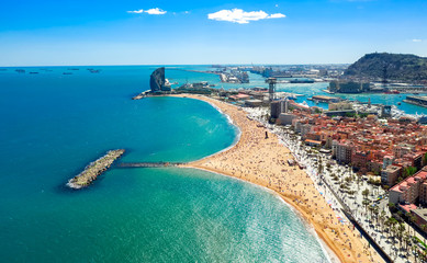 Wall Murals Barcelona Barcelona central beach aerial view Sant Miquel Sebastian plage La Barceloneta district and port catalonia