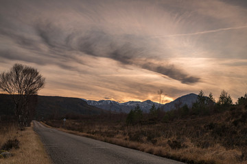 A winter bracketed HDR image of a sunset in Glen Torridon in Wester Ross, Scotland. 26 December 2019