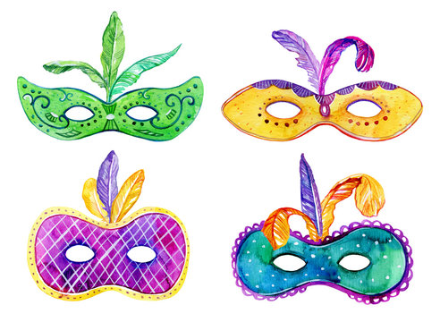 Set of colorful masks with feathers. Hand drawn watercolor sketch illustration