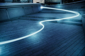 Fiber optic light trail communication technology streaming, concept