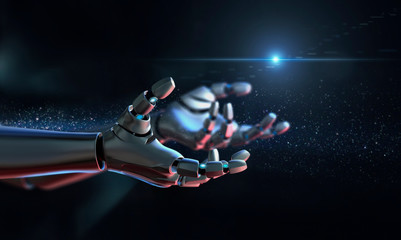 Computer generated image robot arms outstretched
