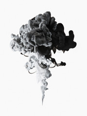 Black, white and gray ink formation on white background