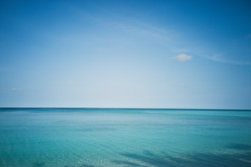 Idyllic, tranquil blue seascape under blue sky, Maldives, Indian Ocean