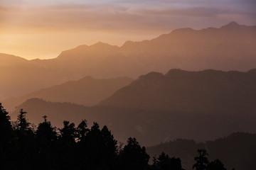 Silhouette tranquil mountain range at sunset, Supi Bageshwar, Uttarakhand, Indian Himalayan Foothills