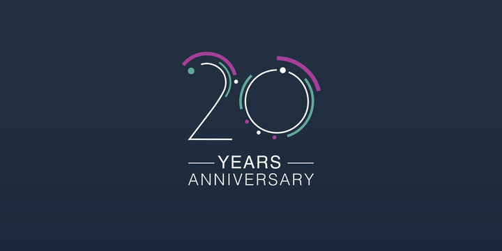 20 years anniversary vector icon, logo. Neon graphic number