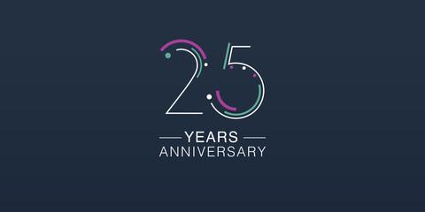 Fototapeta 25 years anniversary vector icon, logo. Neon graphic number obraz