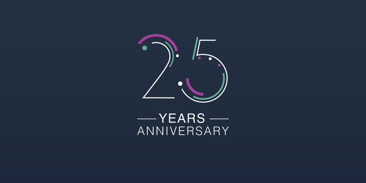 25 years anniversary vector icon, logo. Neon graphic number