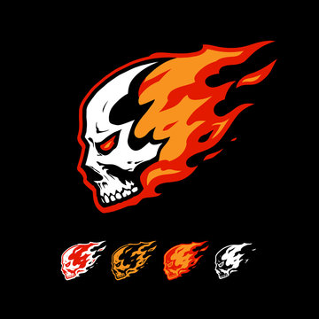 skull in flame logo template