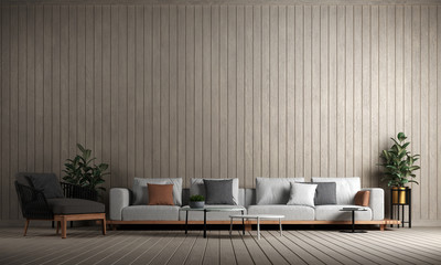 Modern luxury interior design of living room and wood wall pattern background