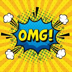 omg expression sign pop art style vector illustration design