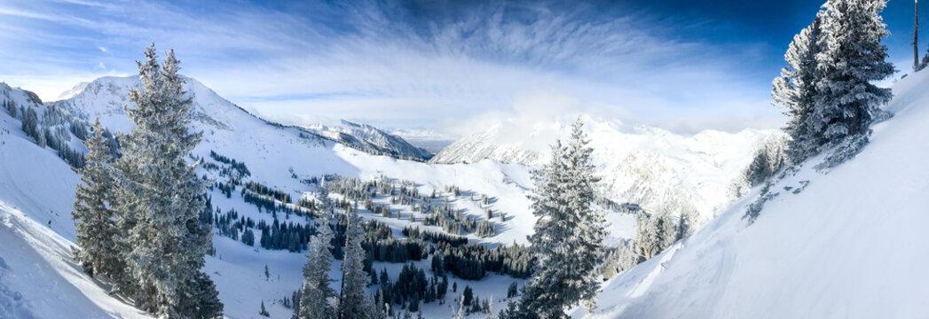 View of the slopes of Alta ski resort in Utah.