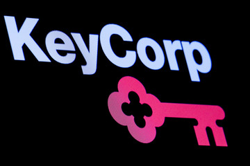 The logo Key Corp. is displayed on a screen on the floor at the NYSE in New York