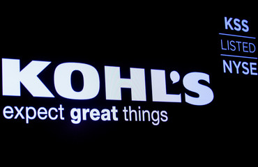 The logo and trading informations for Kohl's  is displayed on a screen on the floor at the NYSE in New York