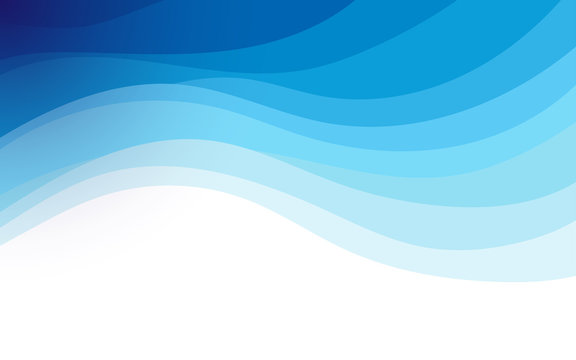 Abstract fluid blue ocean wave marine banner vector background illustration.