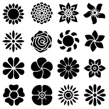 Flowers vector icons set. Beautiful garden plants illustration sign collection.