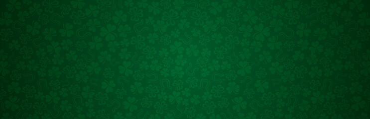 Green Patricks Day greeting banner with green clovers. Patrick's Day holiday design. Horizontal  background, headers, posters, cards, website.Vector illustration