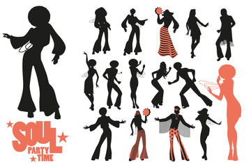 Soul dance clipart collection. Set of soul, funk or disco dancers isolated on white background..