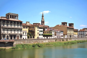 Embankment of the river Arno, Florence, Italy. Drawing.
