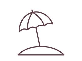 Sun umbrella on the beach outline icon.