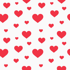 Red hearts seamless pattern.