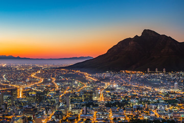 Self adhesive Wall Murals Deep brown View of Table Mountain and Cape Town City at sunrise on a beautiful morning, Cape Town, South Africa