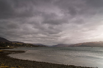 A bracketed hdr wet winter image of Loch Carron in Ross and Cromarty, Wester Ross, Scotland. 29 December 2019