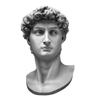 3D rendering of Michelangelo's David bust isolated on white.