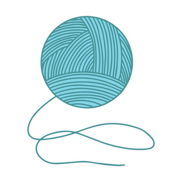Skein of yarn for knitting. The object is hand-drawn and isolated on a white background. Color vector illustration in doodle style. Woolen threads wound into a ball for knitting and sewing.