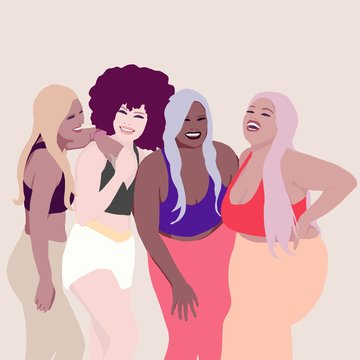 Different sized women laughing together. Group of Girls from different race, ethnicity and skin color. Body positive concept. Sporting woman