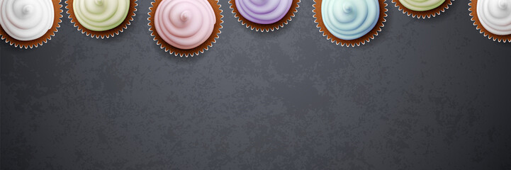 Colorful cupcakes on blackboard banner background vector