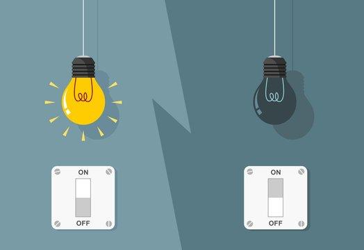 Light Bulbs Turned on and Turned Off on