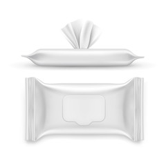 Realistic white napkin pack, facial wipe