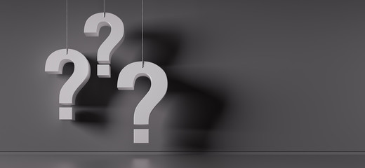 Question marks in front of a grey wall - 3D illustration