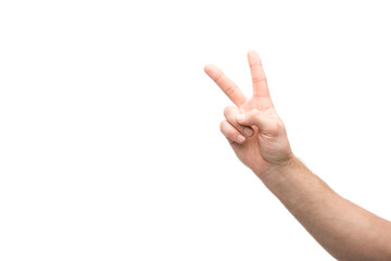 cropped view of man showing peace sign isolated on white