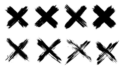 X black mark set. 8 highly detailed and different crosses. Hand drawn crossed brush strokes. Cross sign graphic symbol. High quality manually traced. Vector X mark set