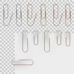 Realistic metal paper clips set. Vector set. Stationery paperclip accessory for holding several sheets of paper togethe