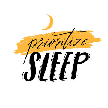 Invest in rest. Motivational quote about sleep quality, importance of unplugging and relax. Black handwritten text decorated with yellow crescent isolated on white background