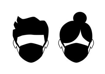 breathing mask on face, dust mask icon, flat vector illustration