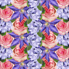 Wall Mural - Beautiful floral background of roses, clematis and hyacinth. Isolated