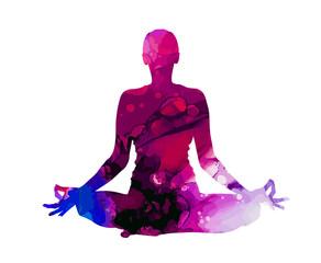yoga. lotus position silhouette. mixed media. vector illustration