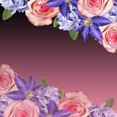 Fototapete - Beautiful floral background of roses, clematis and hyacinth. Isolated