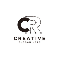 Initial CR logo design with curved line - vector