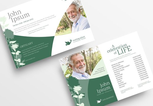 Funeral Service Flyer Layout with Green Floral Illustrations