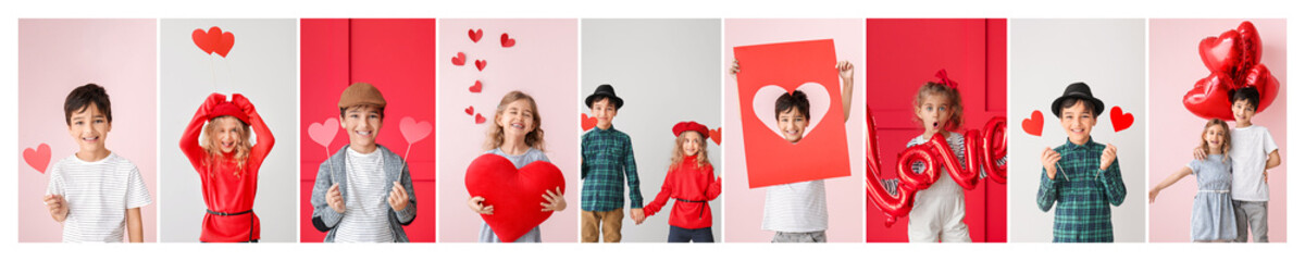 Collage of photos with cute little children. Valentine's Day celebration