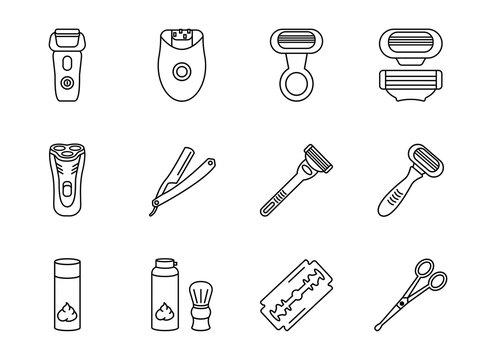Shaving razors line icon set. Women's and men's razors, epilator, shaving brush, cartridges. Equipment for barbershop. Editable Strokes