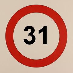 Grafische Darstellung des Straßenverkehrszeichen Maximalgeschwindigkeit 31 km/h
