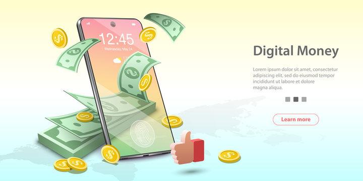 Vector Concept Illustration of Digital Money, Mobile Banking, Online Wallet. Template for website landing page.